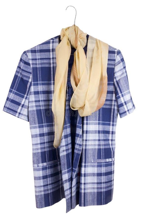 Retro giacca blu della donna checkered anziana fotografie stock
