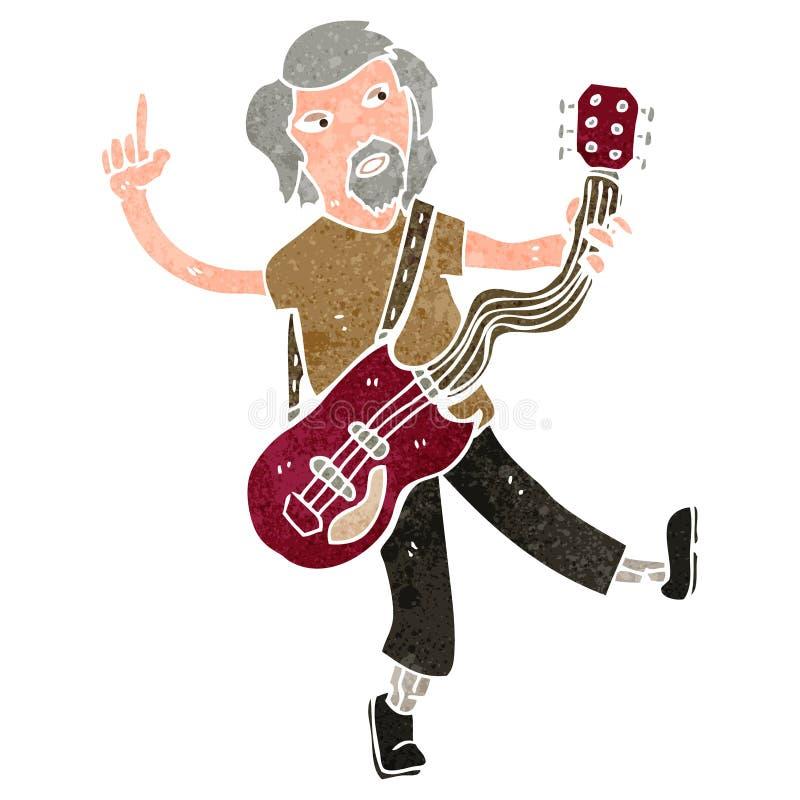 retro giocatore di chitarra elettrica del fumetto illustrazione di stock