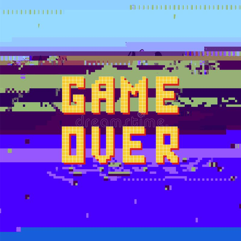 Retro gioco del pixel sopra il peccato sull'insegna di impulso errato Concetto di gioco Schermo del video gioco illustrazione vettoriale