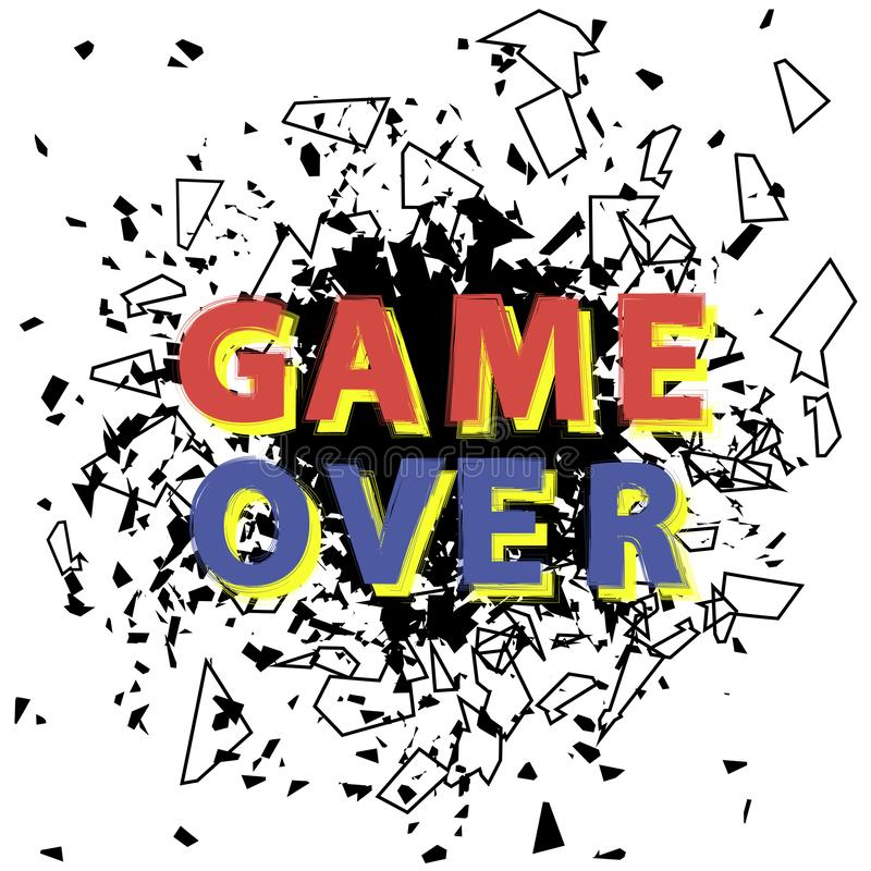 Retro gioco sopra il segno con l'esplosione Concetto di gioco Schermo del video gioco illustrazione di stock