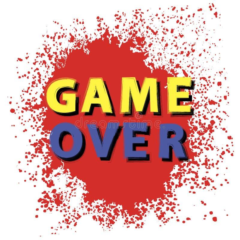 Retro gioco sopra il segno con le gocce rosse su fondo bianco Concetto di gioco Schermo del video gioco illustrazione di stock