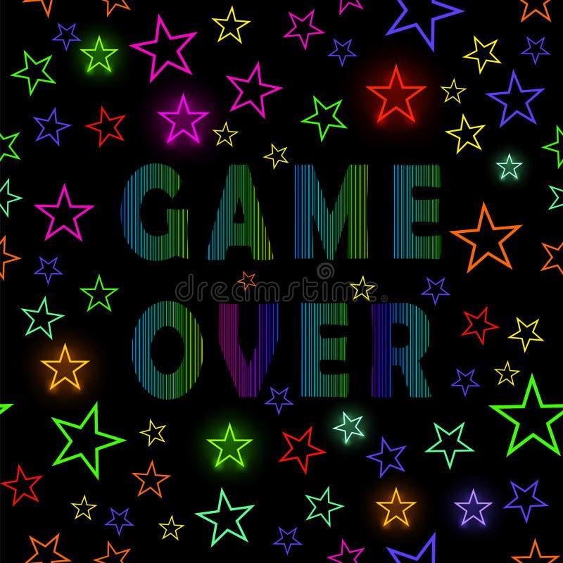 Retro gioco sopra l'insegna al neon su fondo stellato Concetto di gioco Schermo del video gioco illustrazione vettoriale