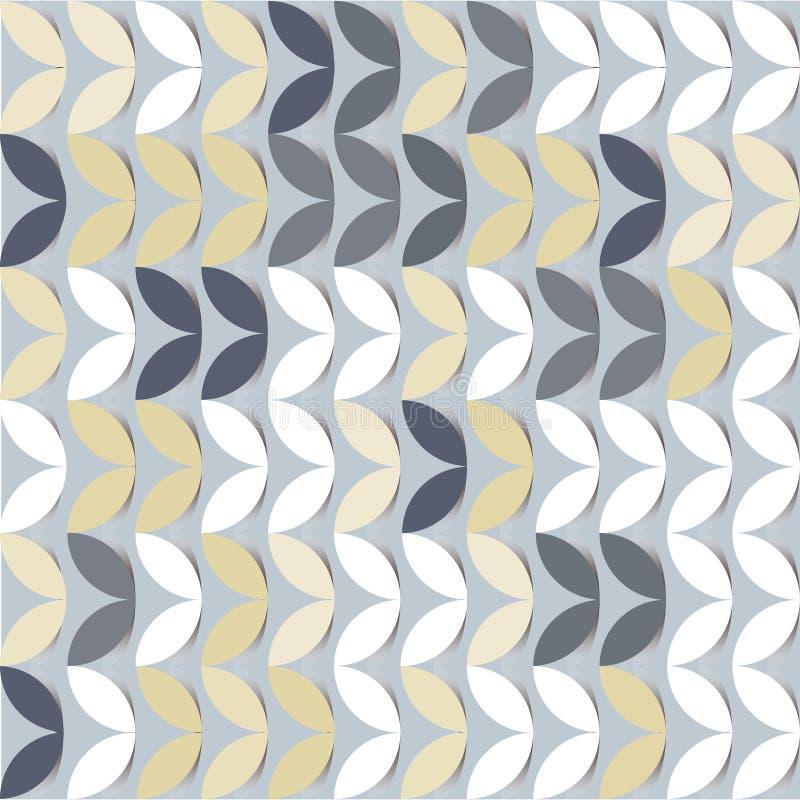 Retro giometric bezszwowi wektorowi okręgi siwieją papieru kiełkowego abstrakcjonistycznego modnego wzór royalty ilustracja