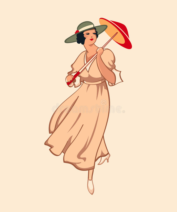 Retro girl vector illustration
