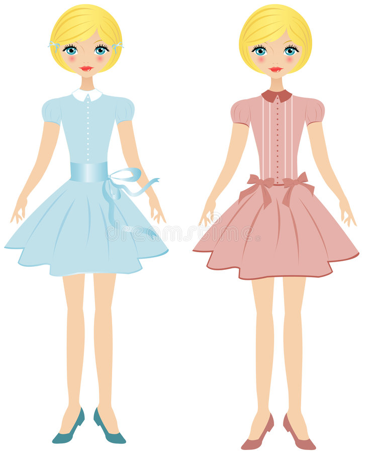 Retro girl. Blond Girl Shown In Two Poses, Wearing A Blue Dress And Also A Pink Dress royalty free illustration