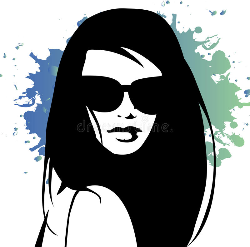 Retro girl illustration royalty free stock photography