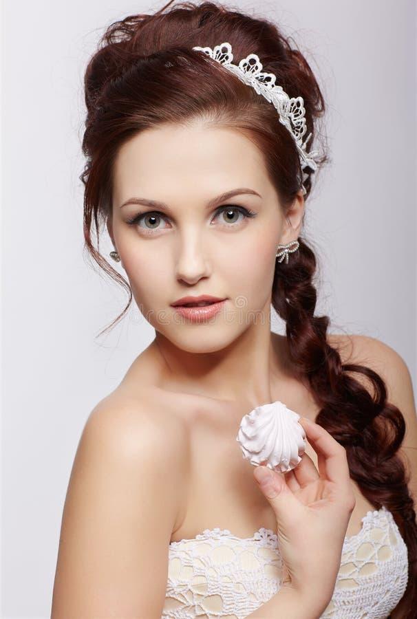 Retro girl with marshmallow royalty free stock photos