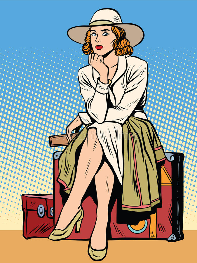 Retro girl passenger with a ticket vector illustration