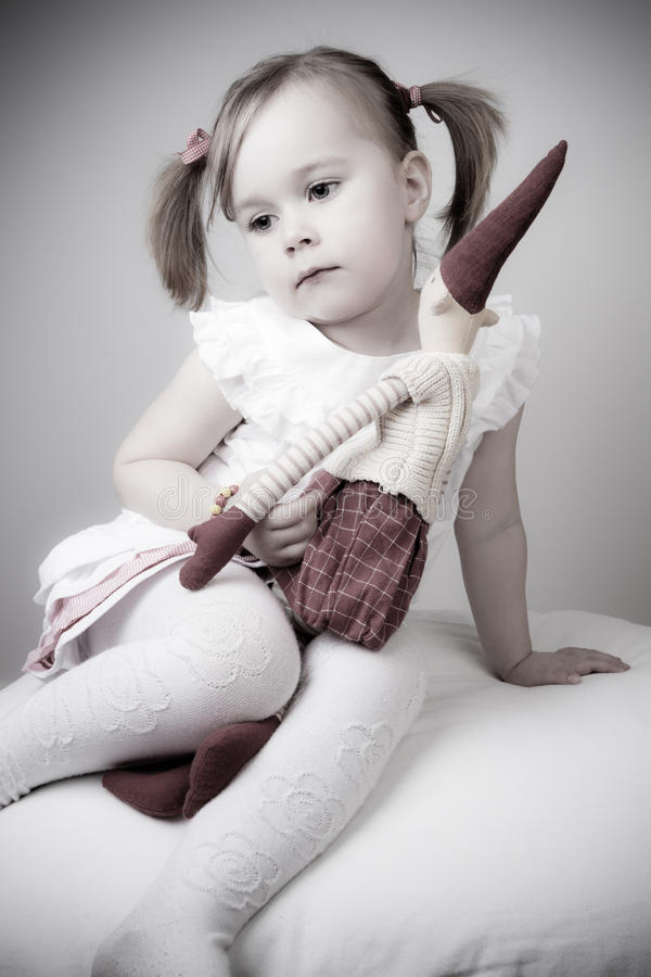 Retro girl waiting for santa royalty free stock image