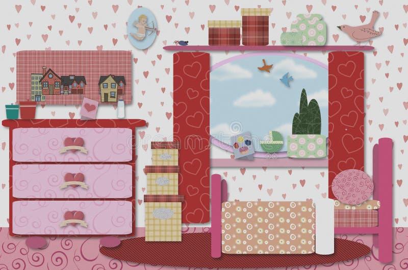 Retro girls/baby room vector illustration