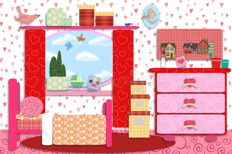 Retro girls/baby room royalty free illustration