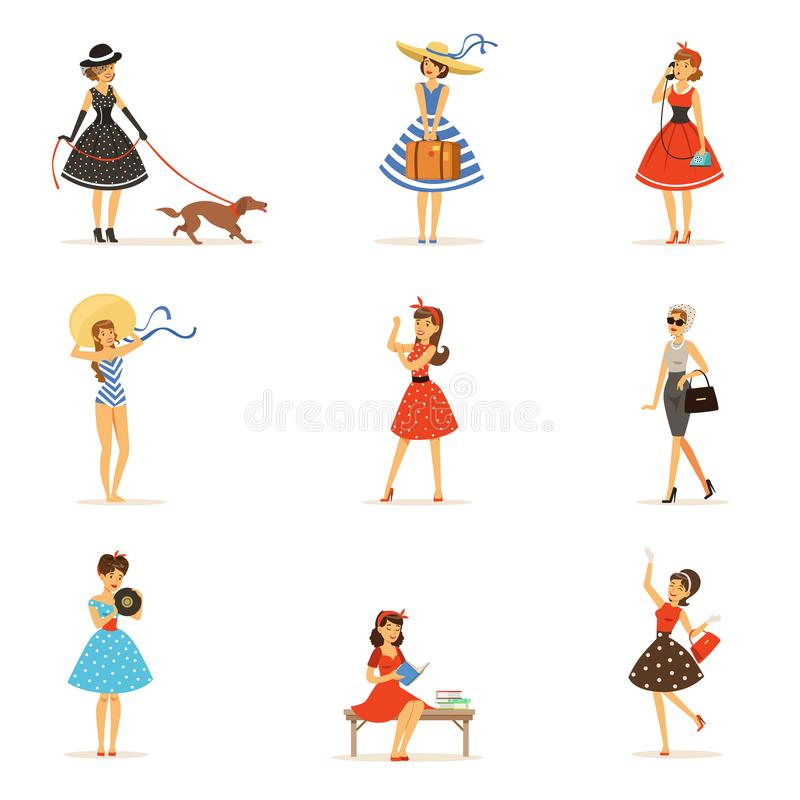 Free Retro Girls Characters Set, Beautiful Young Women Wearing Vintage Dresses Colorful Vector Illustrations Royalty Free Stock Photography - 99874357