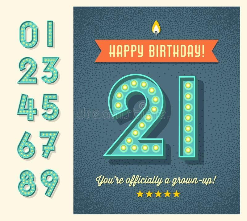 Retro- Glückwunschkarte mit Glühlampezeichenzahlen lizenzfreie abbildung