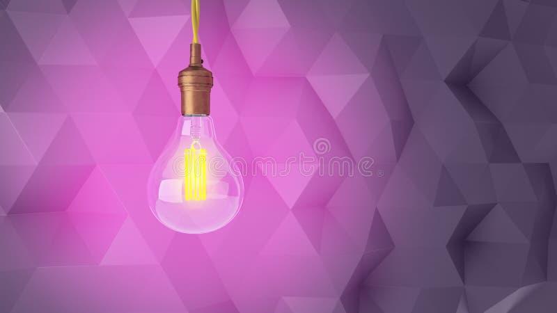 Retro- Glühlampe auf einem abstrakten modernen Hintergrund von Dreiecken Wiedergabe 3d lizenzfreie abbildung