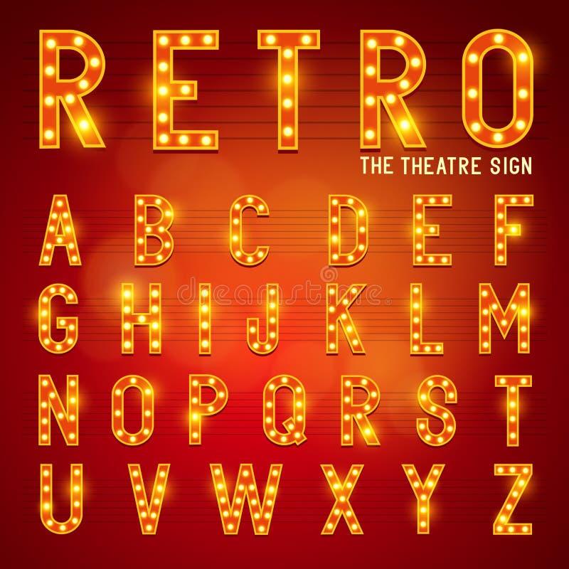 Retro- Glühlampen-Alphabet stock abbildung