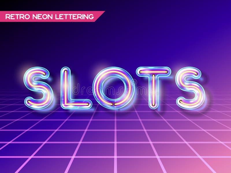 Retro glass neon lettering stock illustration