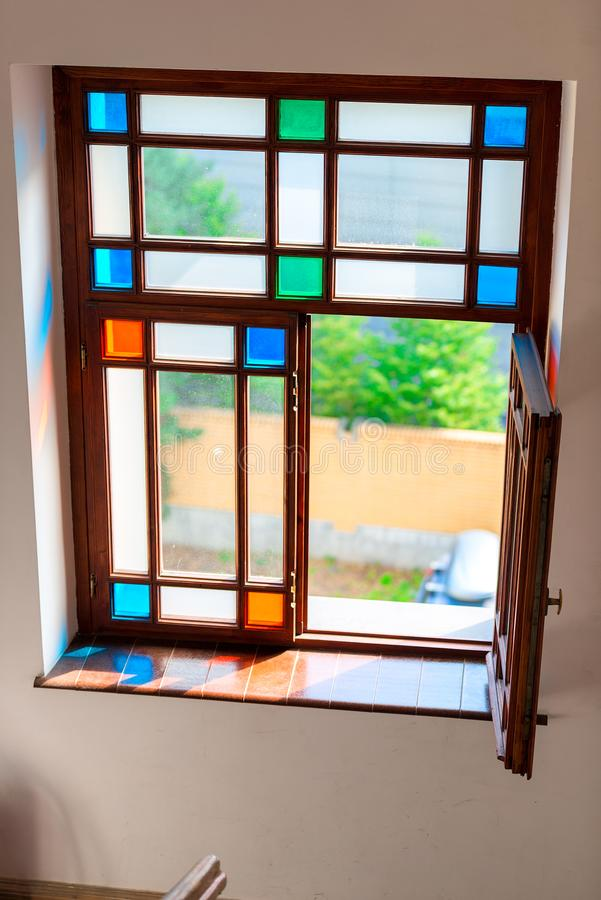 Retro glass stained glass color glass. Simple geometry stock photos