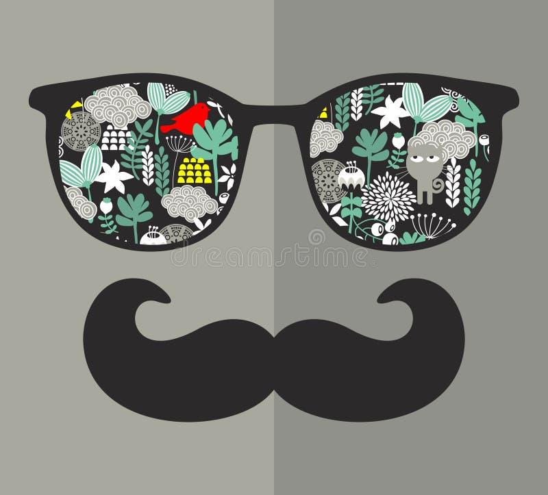 Retro glazen met bezinning voor hipster. stock illustratie