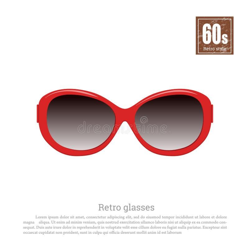 Retro glazen in realistische stijl op witte achtergrond Oude Manier jaren '60stijl Uitstekende rode zonnebril stock illustratie