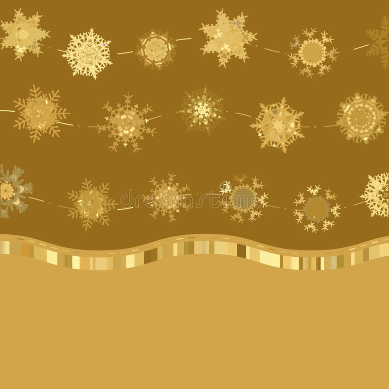 Download Retro Gold Card Template With Snowflakes. EPS 8 Stock Photo - Image: 25655650
