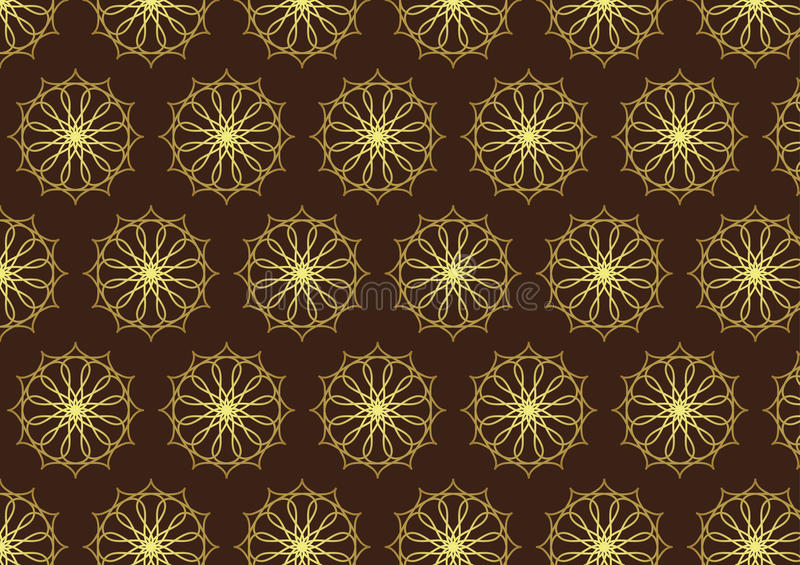 Retro Gold Flower and Gear Pattern on Dark Brown Color. Classic Gold Flower and water drop and cogwheel pattern on brown background. Luxurious pattern style for vector illustration