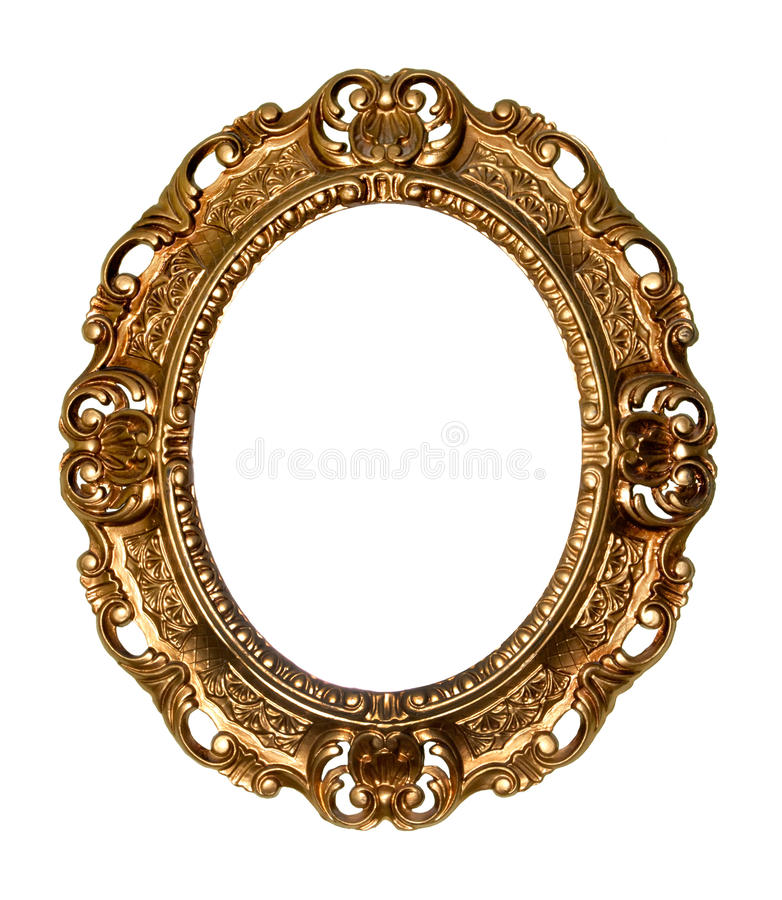 Retro gold frame - Oval royalty free stock image