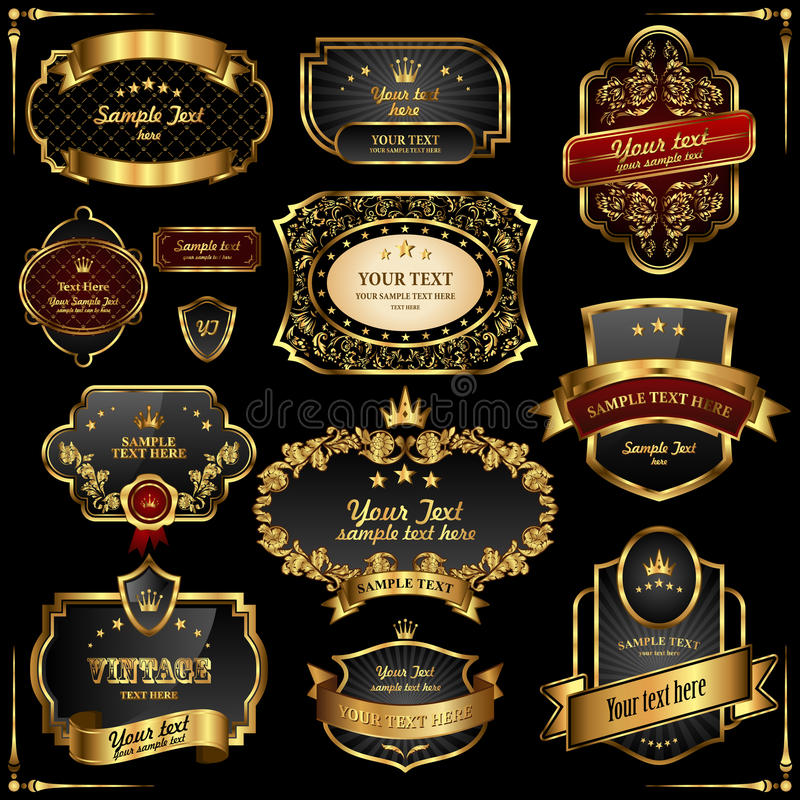 Free Retro Gold Frames On Black Background Royalty Free Stock Photos - 17544488