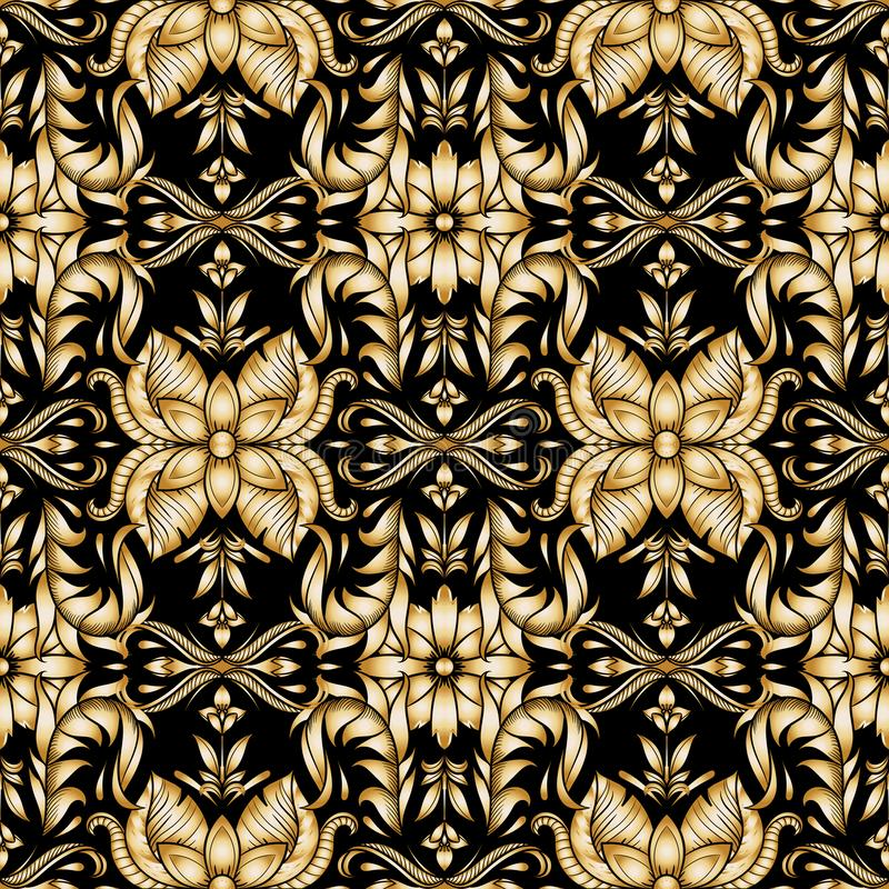Retro gold ornamental floral seamless pattern, vintage. Texture for wallpapers, fabric, wrap, web page backgrounds, vector. Illustration design vector illustration
