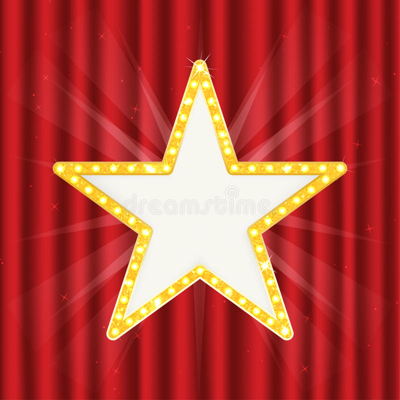 Retro gold star. Vintage frame with lights isolated on red curtain royalty free illustration
