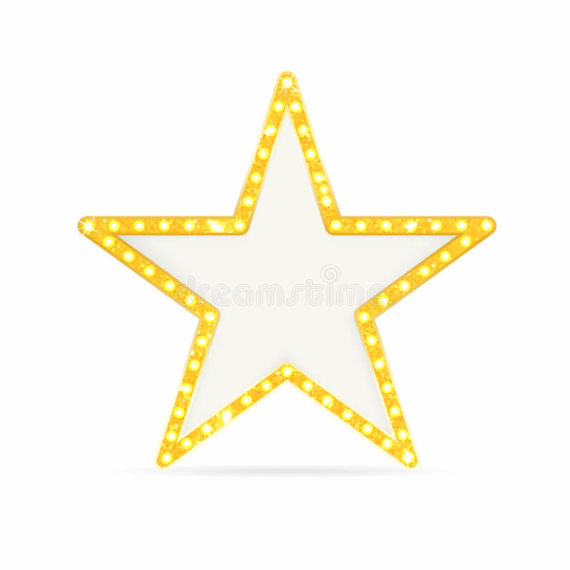 Retro gold star. Vintage frame with lights isolated on white background vector illustration