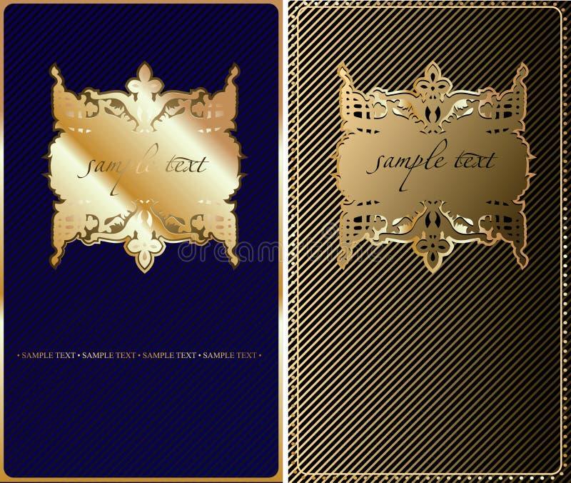 Retro- Goldblauer Abdeckung-Hintergrund. lizenzfreie abbildung