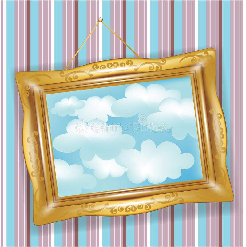 Retro golden frame with clouds stock illustration