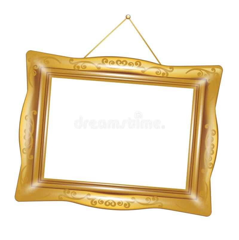 Retro golden frame isolated stock illustration