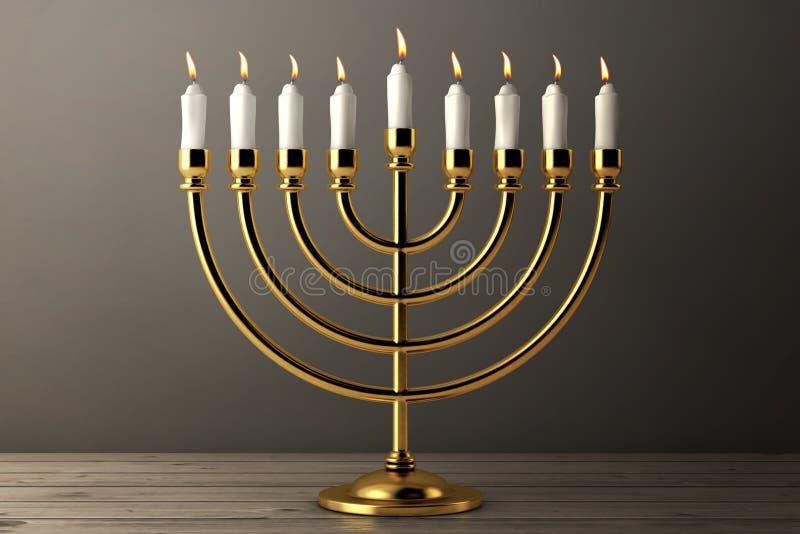 Retro- goldenes Chanukka Menorah mit brennenden Kerzen Wiedergabe 3d lizenzfreie abbildung