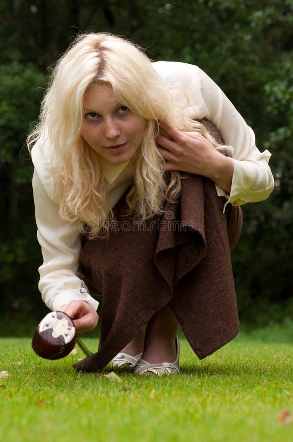 Retro golf girl royalty free stock image