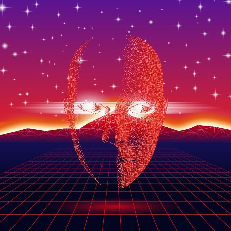 Retro golf glanzend hoofdsilhouet over neonlandschap stock illustratie