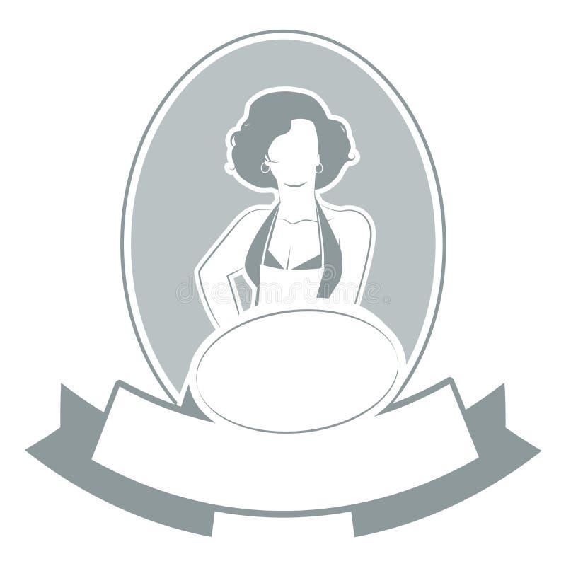 Retro gospodyni domowej kucbarski jest ubranym fartuch pokazuje, pusta etykietka dla twój teksta i ilustracja wektor