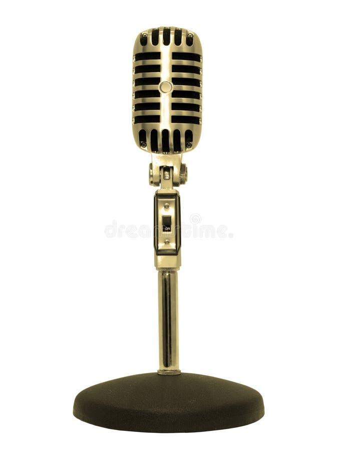 Retro goud van de microfoon stock afbeeldingen