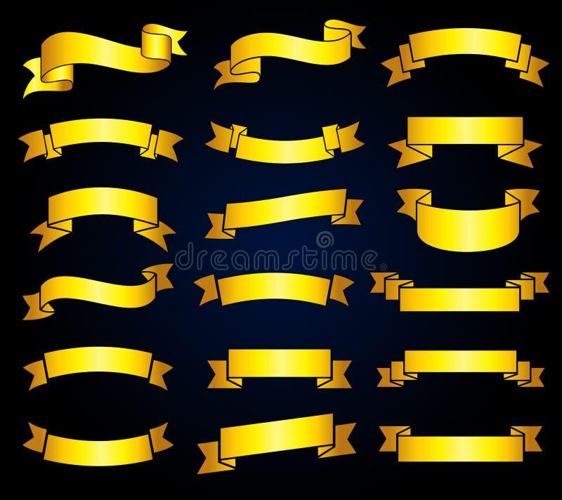 Retro gouden vectorvoorraad van lintbanners royalty-vrije illustratie