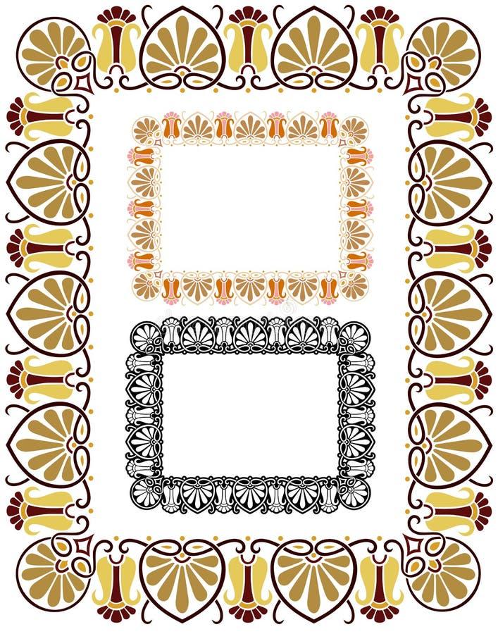Retro gräns med variationer royaltyfri illustrationer