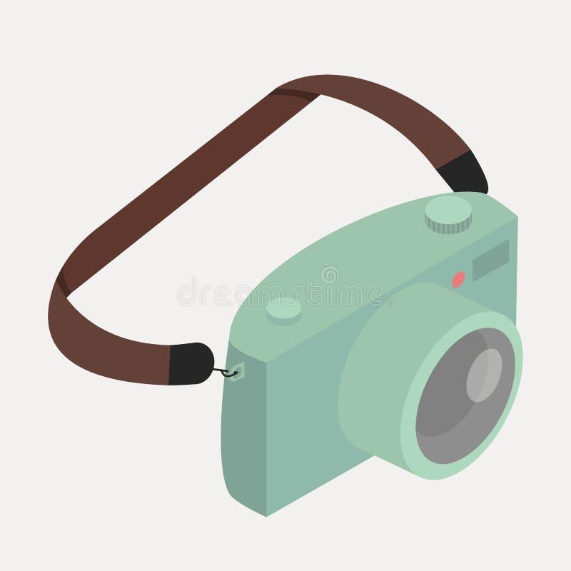 Retro grön kamera med remmen vektor illustrationer
