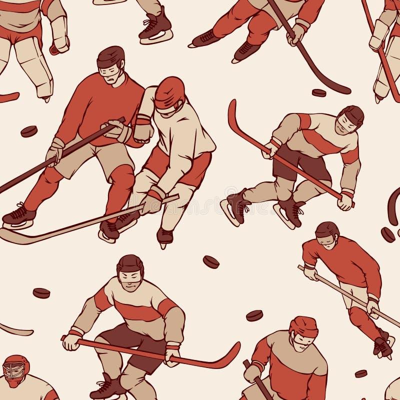 Retro gracz w hokeja bramkarz w sportach munduruje bezszwowego tło Roczników sportsmans deseniowy ruch z hokejem ilustracja wektor