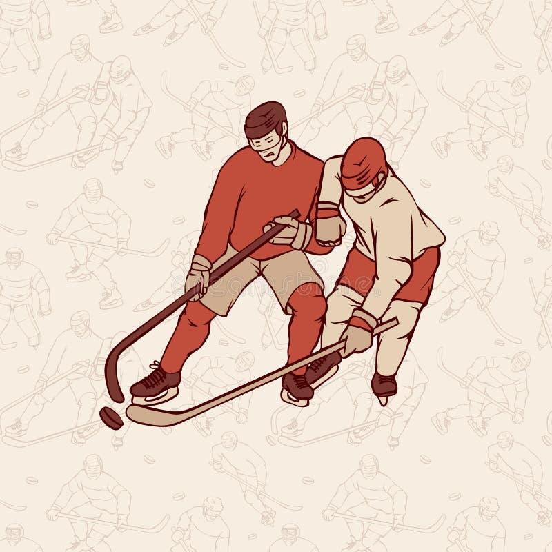 Retro gracz w hokeja i bezszwowy deseniowy tło Roczników sportsmans ruch z hokejowym kijem architektonicznego miasta krajobrazu s ilustracji