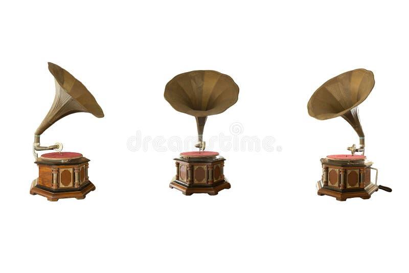 Retro grammofono classico per il gioco della musica isolato fotografie stock libere da diritti