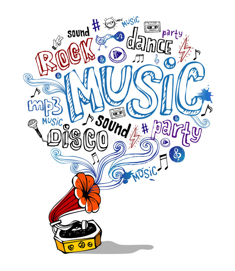 Retro gramophone and musical symbols. Vector illustration of retro gramophone and musical symbols and inscriptions vector illustration