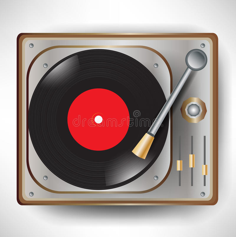 Retro gramophone; turntable. Single retro gramophone with disc; turntable stock illustration