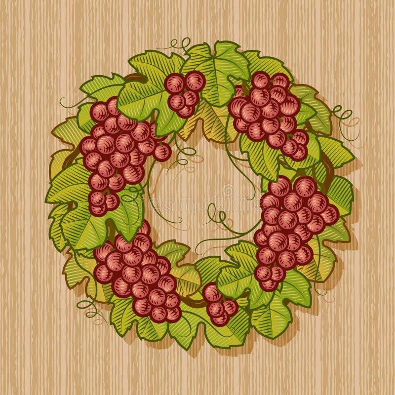 Retro Grapes Wreath Stock Images