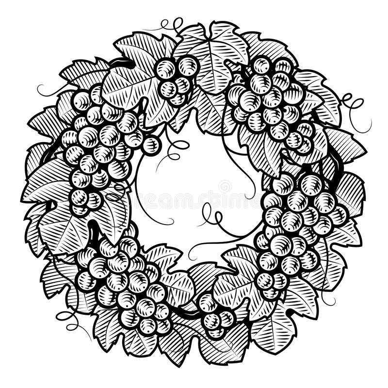 Retro grapes wreath black and white stock illustration