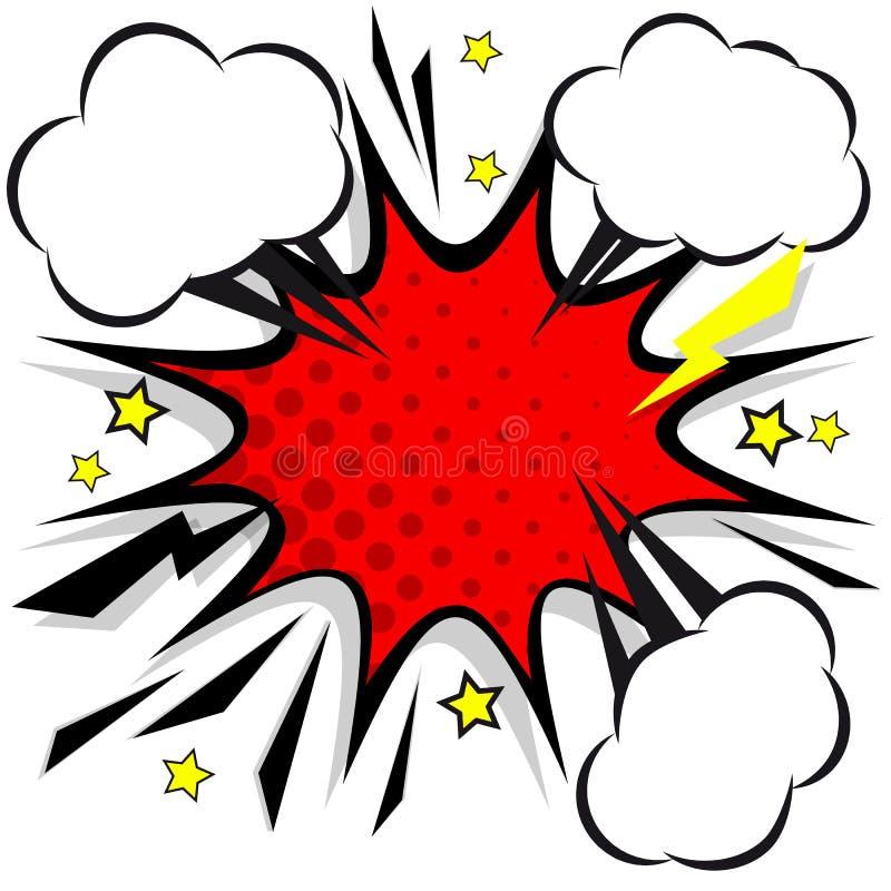 Retro grappige bellen van de ontwerptoespraak Flitsexplosie met wolken vector illustratie