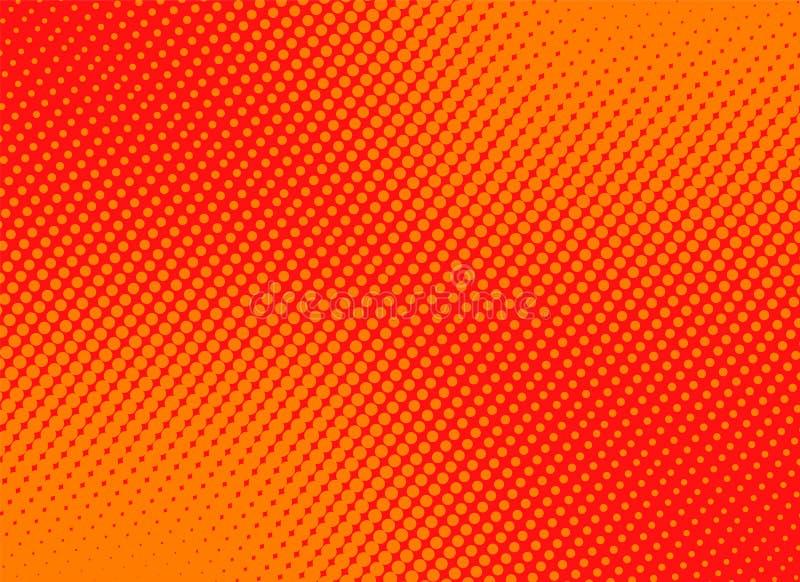 Retro grappige gele achtergrond halftone roostergradiënt, voorraad ve stock illustratie